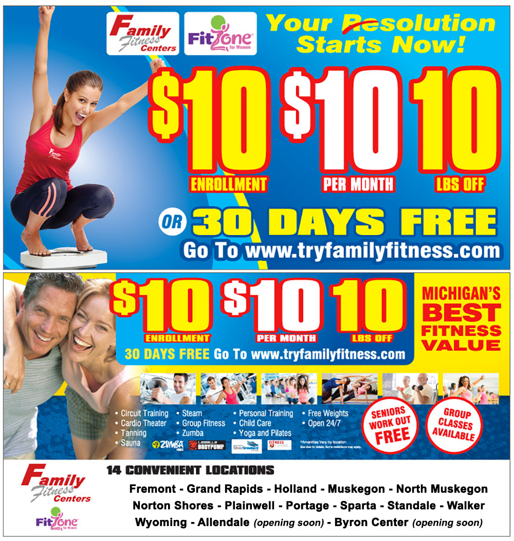 Family Fitness and Fitzone for Women Club Membership Special for January 2017